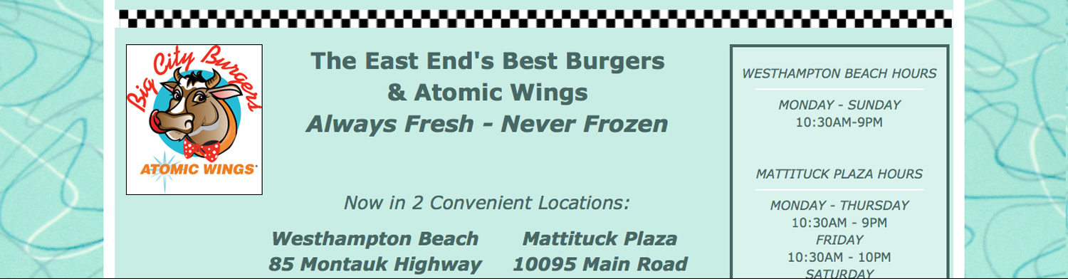 Home page for Big City Burgers and Atomic Wings